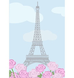 Eiffel tower with roses vector image
