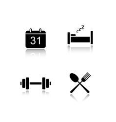 Everyday activities drop shadow icons set vector