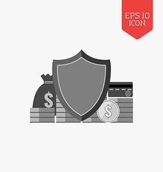 Finance protection concept icon Flat design gray vector image