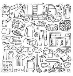 Garbage doodle set vector image