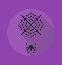 Halloween flat icon spider with cobweb vector