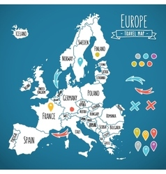 Hand drawn europe travel map with pins vector