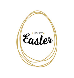happy easter lettering with scribble egg vector image