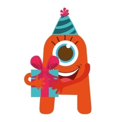 monster cartoon with party hat and gift isolated vector image