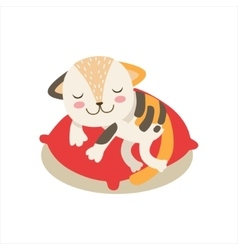 Multicolor little girly cute kitten sleeping on a vector