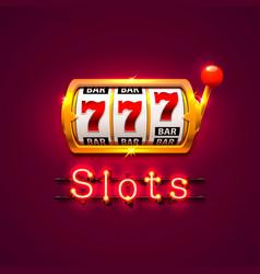 neon golden slot machine wins the jackpot vector image vector image