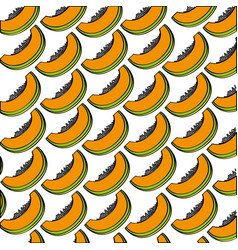 Papayas pattern fresh fruit drawing icon vector