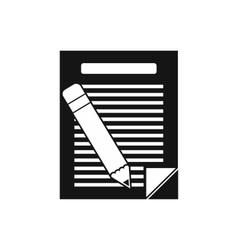 Paper and pencil icon simple style vector image