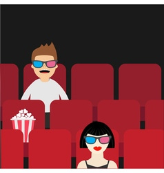 People sitting in movie theater film show cinema vector