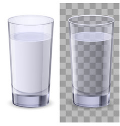Realistic glasses of water on white background vector