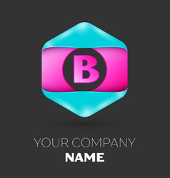 Realistic letter b logo in colorful hexagonal vector