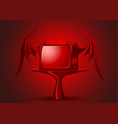 Red evil retro tv vector