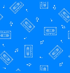 retro cassette seamless pattern music concept vector image