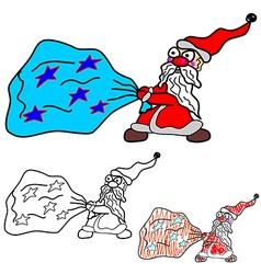 Santa Claus drags a bag vector image vector image