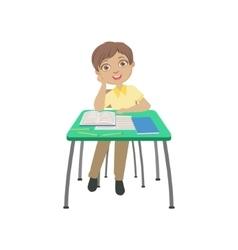 Schoolboy sitting behind the desk in school in vector