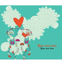 Two Birds in Love Sitting on Flowers vector image vector image