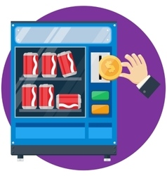 vending machine with hand drop gold dollar vector image vector image