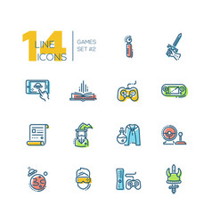 Video gaming - thick line icons set vector