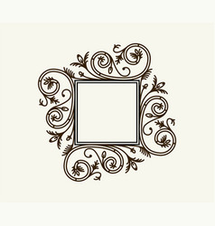 Vintage border frame engraving with retro vector