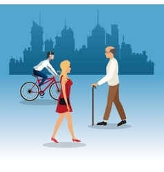 Walking woman elder man young ride bike city vector