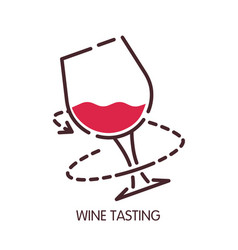 wine tasting glass icon for sommelier vector image vector image
