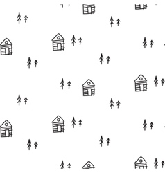 Line houses scandinavian ornament hand vector image