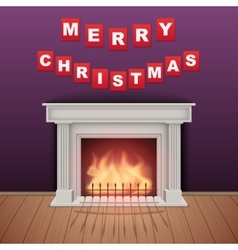Christmas and fireplace in cozy room vector