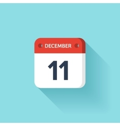 December 11 isometric calendar icon with shadow vector