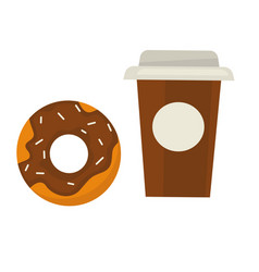 chocolate donut with sprinkles and coffee in paper vector image