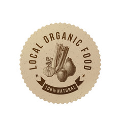 Local organic food round paper emblem vector