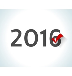 2016 written on white background with a red check vector