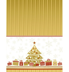 Color christmas card with tree and gifts vector
