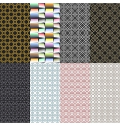 Eight geometric patterns set of seamless vector