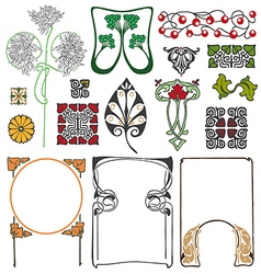 Art nouveau floral ornaments vector