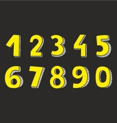 Yellow numbers isolated on black background vector