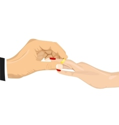 Male hand inserting an engagement ring vector