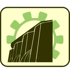Hydroelectric power station and gear icons vector