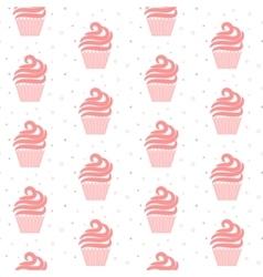 Pink cupcake seamless pattern sweet cake texture vector