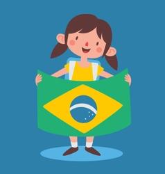 School Girl Holding a Brazilian Flag vector image