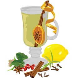 Still life tea and spices vector