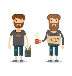 Alms for the poor homeless or street beggar vector