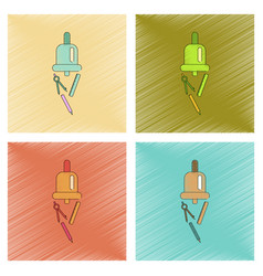 Assembly flat shading style icon bell pencil ruler vector