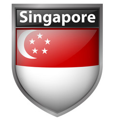 Badge design for singapore flag vector