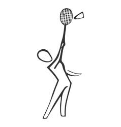 Badminton player sketch style vector image vector image