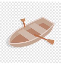 Boat with oars isometric icon vector