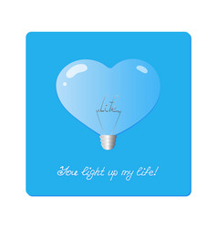 Bulb in shape of heartn with the word life inside vector
