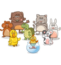 cartoon pet characters group vector image vector image