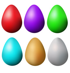 classic easter eggs set isolated colorful easter vector image