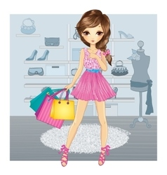 Cute Girl In Shoes Store vector image