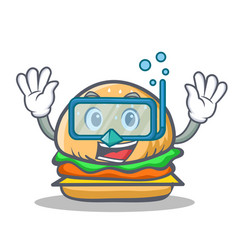 Diving burger character fast food vector